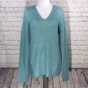 Tommy Bahama Blue Loose Knit Sweater Top
